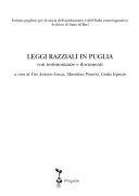 copertina Leggi razziali in Puglia : con testimonianze e documenti