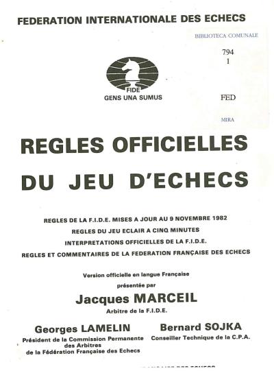 copertina Regles officielles du jeu d'echecs